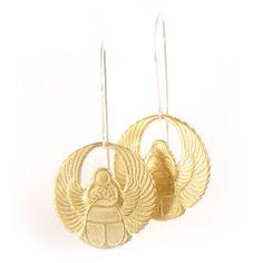 Round medallion winged beetle earrings. | Shop | betsy & iya