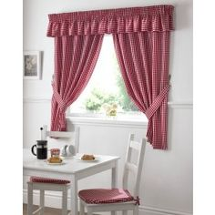 Gingham Red Kitchen Curtains