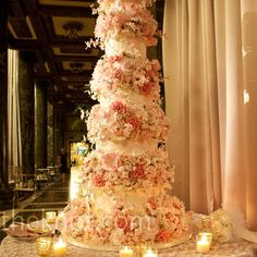 White and Pink Tall Cake-this is white and pink sugar flowers...wow!