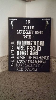 Check out this item  https://www.etsy.com/listing/217678605/linemans-home-sign