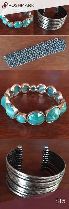 3 x Bracelets 1 x turquoise stretch bracelet  1 x gunmetal cuff 1 x chain mail bracelet Jewelry Bracelets
