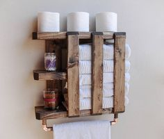 ♥ Each Shelf is HANDMADE IN PENNSYLVANIA, USA Hang your towels in style with this eye-catching towel holder. This beautifully handcrafted shelf and towel rack will add character to any bathroom. Its is perfect for smaller bathrooms that often don't have enough space to store all those