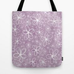 Doodle Flowers Pink Tote Bag by Alice Gosling - $22.00  ALL Tote Bags are now full bleed, printed both sides and available in 3 sizes #bag #iphone #phonecase #Samsung #nature #flowers #doodle #texture #pattern #pink