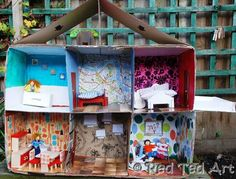 Don't throw away those cardboard boxes! Here's 45 fabulous cardboard box activities, arts and crafts for kids to keep them busy all year round. Cardboard Dollhouse, Cardboard Box Crafts, Cardboard Furniture, Cardboard Crafts, Diy Dollhouse, Doll Furniture, Homemade Dollhouse, Cardboard Play, Quick Crafts