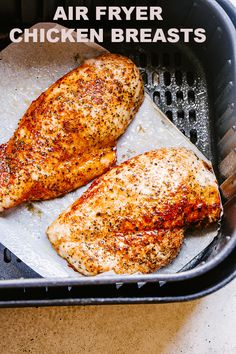 Air Fryer Chicken Breast - A simple method for how to make juicy, super tender, and wonderfully delicious chicken breasts in the Air Fryer! This basic Air Fryer chicken breast recipe is quick, healthy, and can be prepped ahead of time. Air Fryer Recipes Chicken Breast, Baked Chicken Breast, Easy Chicken Recipes, Chicken Breasts, Tender Chicken Breast Recipe, Air Fry Chicken, Air Fryer Chicken Tenders, Oven Chicken, Chicken Drumsticks