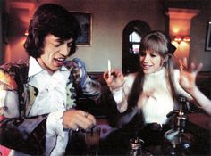 Mick Jagger and Marianne Faithfull on the set of Girl on a Motorcycle, 1967