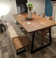Retro Wooden Folding Dining Table Transforming To Shelf Dining Room Hallway Dining Table With Bench, Wooden Dining Tables, Rustic Table, Reclaimed Wood Dining Table, Wooden Dining Table Designs, Industrial Dining Tables, Space Saver Dining Table, Wooden Bench Table, Dining Room Table Legs