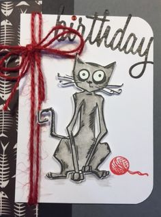 Tim Holtz Crazy Cat Birthday card