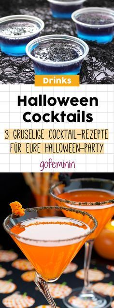 3 spooky cocktail recipes for your party- Happy Halloween! 3 spooky cocktail recipes for your party - Halloween Cocktails, Halloween Snacks, Entree Halloween, Postres Halloween, Feliz Halloween, Dessert Halloween, Halloween Buffet, Fröhliches Halloween, Dessert Party
