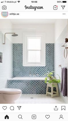 Fishscale: Handmade fish scale, or mermaid, tiles become a key feature in this b. - Fishscale: Handmade fish scale, or mermaid, tiles become a key feature in this bathroom with a gene - Family Bathroom, Laundry In Bathroom, Bathroom Renos, Bathroom Inspo, Bathroom Renovations, Modern Bathroom, Master Bathroom, Small Bathroom With Window, Mosaic Bathroom