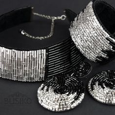 Wide black and silver choker. Set of bead embroidered jewelry. African jewelry for women - DIY Jewelry Pearl Ideen Silver Choker, Silver Earrings, Silver Jewelry, Beaded Cuff Bracelet, Beaded Jewelry, Bohemian Jewelry, Jewelry Bracelets, Necklace Set, Bracelets