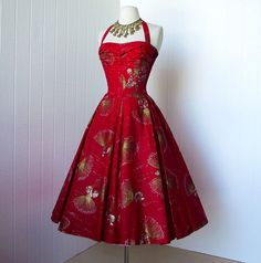 vintage 1950's dress ...early alfred SHAHEEN Love the red!