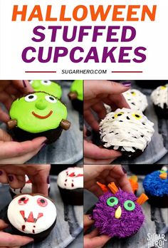 Stuffed Halloween Cupcakes Stuffed Halloween Cupcakes are just like your favorite cream-filled cupcakes, only decorated with cute (and EASY) Halloween designs! Use frosting and store-bought candy to make four different Halloween cupcake designs: monsters, Halloween Desserts, Halloween Cupcakes, Menu Halloween, Halloween Mignon, Postres Halloween, Halloween Goodies, Cute Halloween, Halloween Treats, Disney Halloween