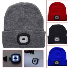 58e744185aa LED Knitted Hat Beanie USB Rechargeable Hands Free Flashlight Headlamp Cap  for Climbing Fishing