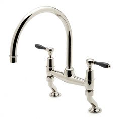 Easton Classic Two Hole Bridge Gooseneck Kitchen Faucet, Black Porcelain  Lever Handles
