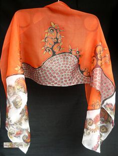 Handpainted silk scarf Black Orange scarf Floral by FilkinaScarves