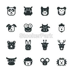 Animal Faces Silhouette Icons | Vector | StockerPark
