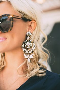 Tortoise + statement earrings | @andwhatelse