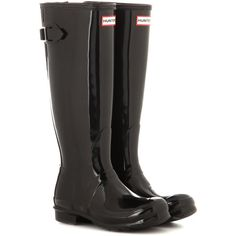Hunter Original Tall Wellington Boots ($140) ❤ liked on Polyvore featuring shoes, boots, black, shiny black boots, wellies boots, tall knee high boots, black knee-high boots and shiny boots