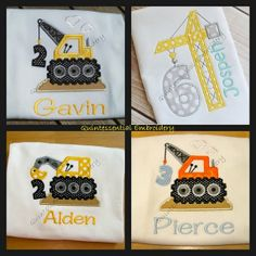 Construction-Builder-Birthday-Tshirt-Onesie-Baby-Boy-Party-Applique-Embroidery-Crane-Backhoe-Hard Hat-Bulldozer-Worker-Digger-Truck-Cute