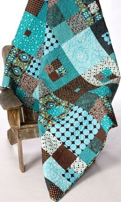hip to be square quilt pattern from busy bee designs.  So pretty! Love the colors