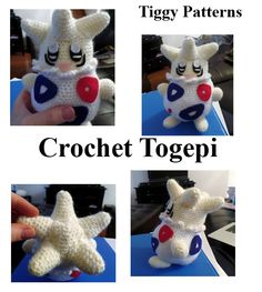 This is a crochet Togepi that I made. Togepi is 6 and 1/2 inches tall and 5 and 1/5 arm to arm. The pattern is available on ravelry for free. http://www.ravelry.com/designers/tiggy-jones