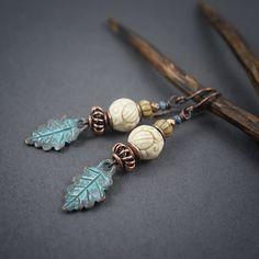 Boho earrings • verdigris leaves • rustic earrings • carved ivory beads • tribal…