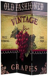 Vintage art of grapes printed on a room divider screen