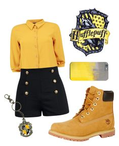 """""""Hufflepuff"""" by closhadow on Polyvore featuring Boohoo and Timberland"""