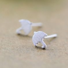 Brushed Sterling Silver Umbrella Stud Earrings Wholesale China