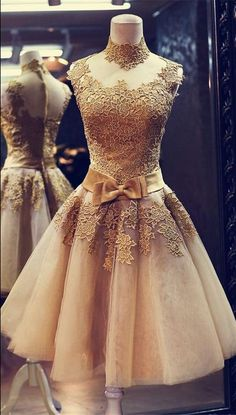 Gold lace prom dress, short prom dress, best for your prom in 2016