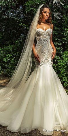 crystal design 2018 sleeveless spaghetti strap sweetheart neckline heavily embellished bodice elegant mermaid wedding dress chapel train (jaclyn) mv -- Crystal Design 2018 Wedding Dresses