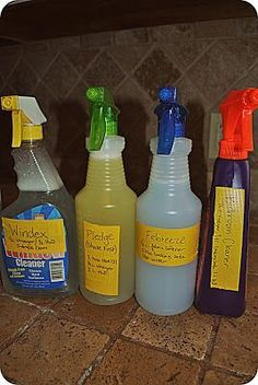 How to make Windex, Pledge, Febreeze and bathroom cleaner. Use 1/2 c vinegar, 1/2 c rubbing alcohol & a few drops Dawn for Windex. 3/4 c white vinegar & 1/4 c olive oil for wood cleaner. Amazing Grays: Clean and Green