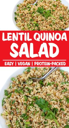 Combines hearty lentils and quinoa tossed with a super flavorful garlic-dijon vinaigrette. Satisfying and protein packed! Lentil Quinoa Salad, Lentils And Quinoa, Brown Lentils, Vegetarian Appetizers, Vegetarian Recipes, Healthy Recipes, Healthy Food, Best Salad Recipes, Whole Food Recipes