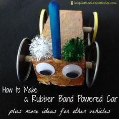 Learn how to make a rubber band powered car and other moving vehicles on Challenge and Discover: Make a Vehicle - this month's science challenge theme.