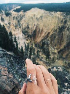 Marissa Quinn x Rising Blue  Moon Whale Tail Ring  Yellowstone Canyon