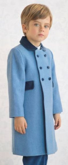 As worn by Prince George at Christmas Child's traditional coat in wool with velvet collar, pocket flaps, buttons and half belt. Childrens Coats, Girls Winter Coats, Double Breasted Coat, Christmas 2016, Wool Coat, Little Girls, Kids Outfits, Prince, Velvet