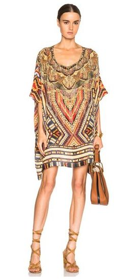 a5c097ce2b228 This relaxed kaftan is a must have for your upcoming vacation. CAMILLA  Short Round Neck