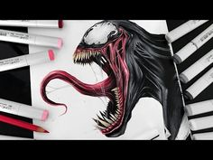 Venom from Spiderman movie, markers drawing done by artist Stephen Ward Arte Copic, Copic Art, Art Sketches, Art Drawings, Venom Art, Marvel Venom, Thor Marvel, Marvel Drawings, Desenho Tattoo