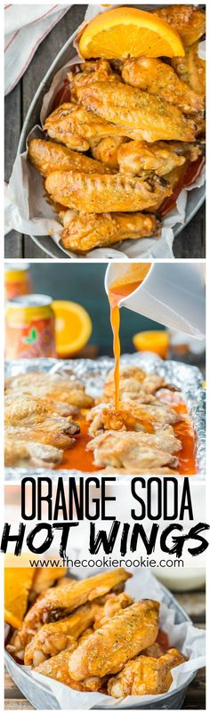 Baked Hot Wings are one of my favorite appetizers! This baked hot wings recipe is made with the most delicious orange soda hot wing sauce. Baked Hot Wings Recipe, Hot Wing Sauces, Chicken Wing Recipes, Baked Chicken, Orange Soda, Orange Juice, Orange Recipes, Burger, Snacks