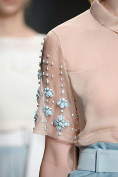 Embellished sleeves. Rebecca Taylor Spring 2015. #runway