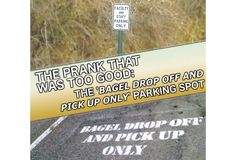 "The story of how I pranked my university into making an official ""Bagel Drop Off and Pick Up"" parking zone #pranks #funny #prank #comedy #jokes #lol #banter"