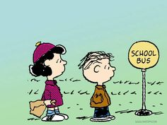 Peanuts Wallpaper- Lucy and Linus waiting for the School Bus. Peanuts Cartoon, Cartoon Tv, Peanuts Gang, Snoopy School, Lucy Van Pelt, School Bus Driver, School Buses, Going Back To College, Girlfriends