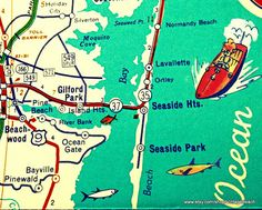 New vibrant photograph of a vintage New Jersey map area of Ortley and Seaside Beach with cool fish, map is altered and embellished with great