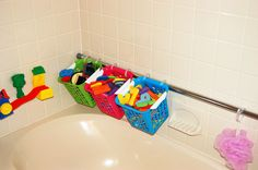 I'm finally rid of those suction cup bathtub bins that keep falling down. Just used a tension rod and clipped bins to it using shower curtain rings. Much easier bathtub toy storage!