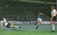France 3 West Germany 3 (4-5 p) in 1982 in Seville. Alain Giresse blasts one home to make it 3-1 to France in the World Cup Semi Final.