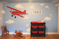 Red Airplane Wall Murals Room Design Ideas