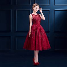 Cheap dress super, Buy Quality dress coctail directly from China dress up clothes women Suppliers: Evening Dress 2016 Prom Dress Red Party Lace Plus Size Tea Length Beading Sweet Slim Custom Made Bride Dinner Dress