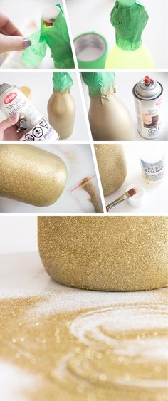 Who doesn't love glitter? Today we're using some fine gold glitter to add a glamorous touch to one of our bottles. Painted Wine Bottles, Glitter Bottles, Decorated Bottles, Gala Oscar, Oscar Party, Diy House Projects, Fun Projects, Bottle Art, Bottle Crafts