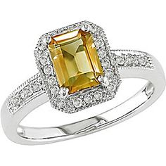 Diamond and Citrine Ring-- Isabella's birthstone